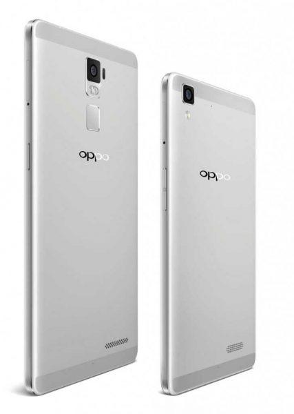 Face arrière des nouveaux Oppo R7 et R7 Plus, deux smartphones sans cadres et cristal courbé.