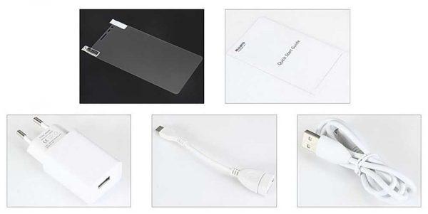 Le Bluboo X550 inclut plusieurs accessoires comme un câble OTG et un chargeur compatible avec PumpExpress Plus.
