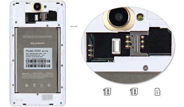 Le Bluboo X550 est un Dual SIM et offre la possibilité d'étendre le stockage interne au moyen d'une micro SD.