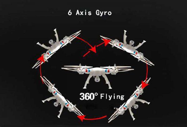 Grâce à son gyroscope de 6 axes, nous pourrons effectuer des loops de 360 degrés avec le Syma X8C, bien qu'il requière un certain maniement de l'appareil pour mener à bien cette manœuvre.