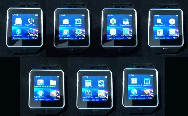 La DZ09 possède sept menus, dans lesquels nous trouverons ses différentes applications