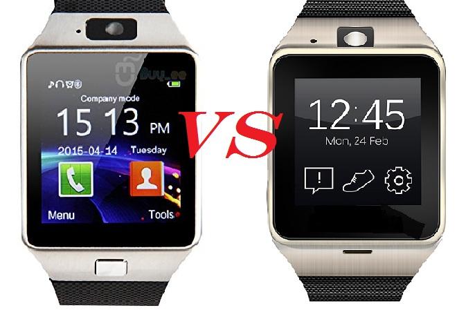 Comparaison de la DZ09 avec la GV18 ; deux smartwatchs très semblables