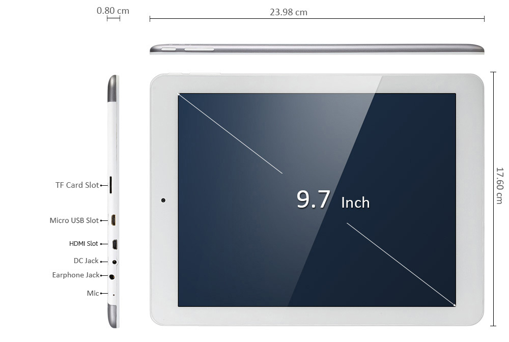 Les dimensions de la tablette PC Teclast X98 Plus II