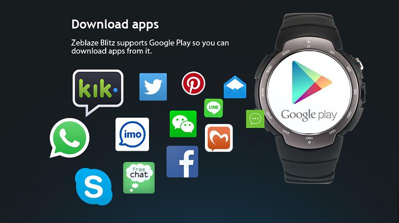 La Zeblaze Blitz 3G dispose du Play Store de telle sorte qu'il est possible de télécharger des applications directement dans la montre