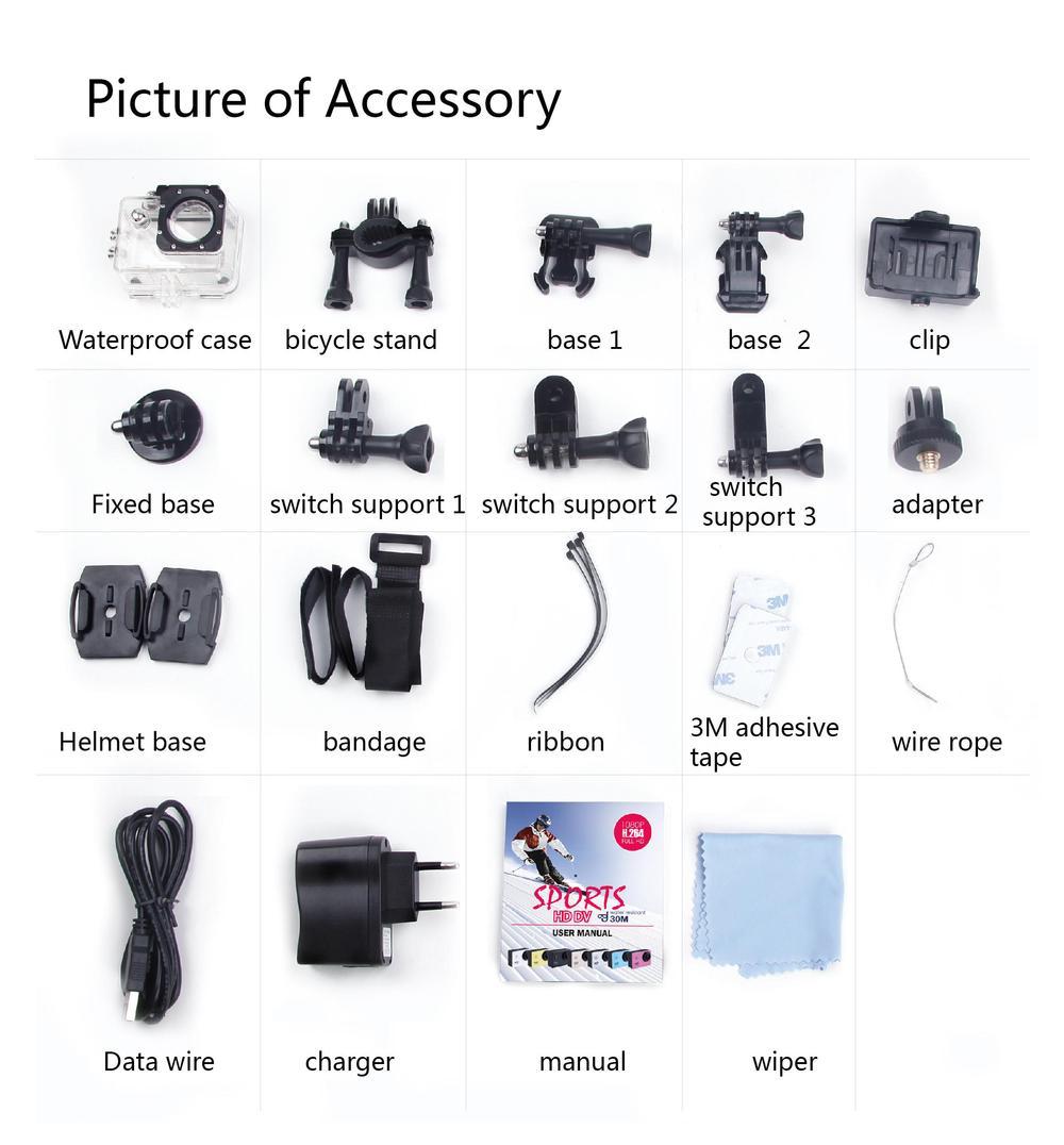 Accessoires des caméras SJCAM SJ5000, SJ5000 WiFi et SJ5000 +