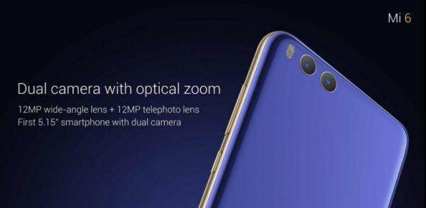 La caméra du Xiaomi Mi6 avec double sensor et zoom optique